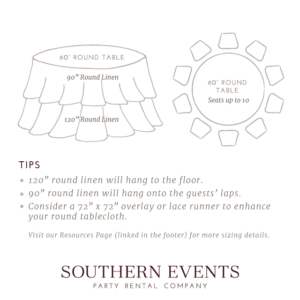 Southern Events Linen Sizing, 60in Round