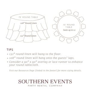 Southern Events Linen Sizing, 72in Round