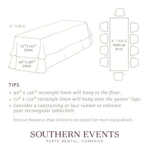 Southern Events Linen Sizing, 8ft Rec
