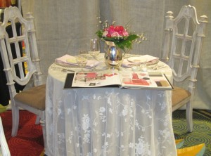 vintage lace overlay cathedral chairs