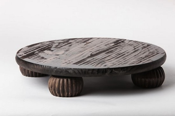 Fruitwood Round Cake Stand, Fluted Feet, Southern Events Party Rental Company