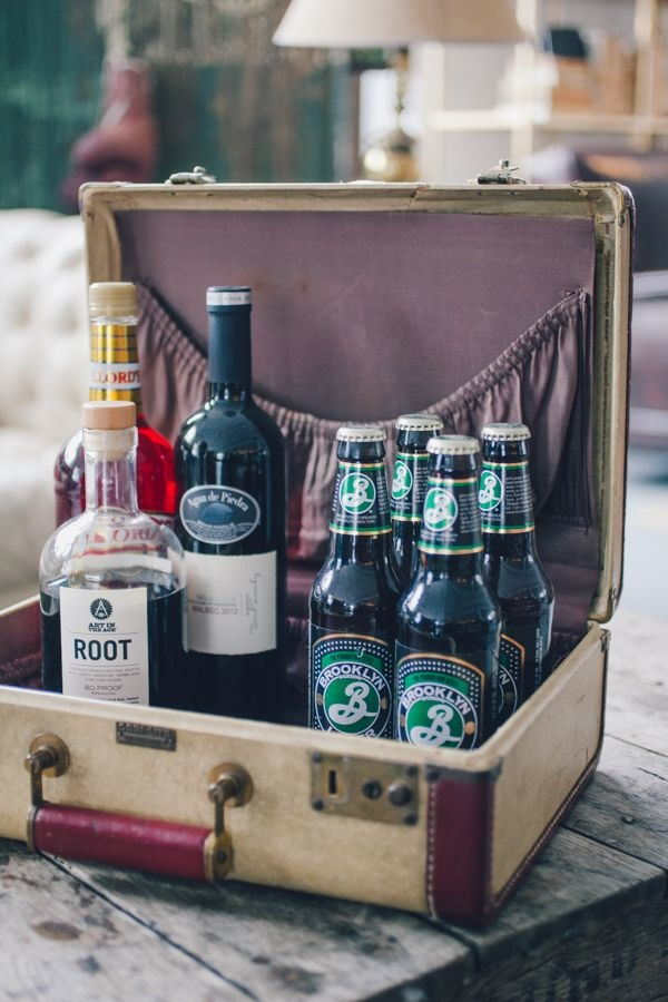 suitcase drink display via weddingchicks