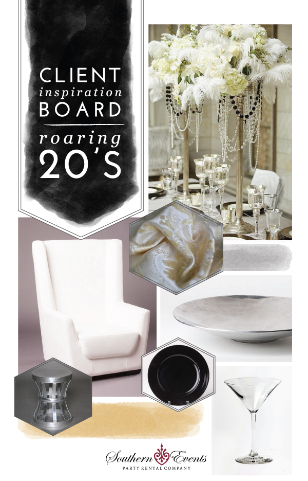 Southern Events Party Rental Company, Roaring 20s Client Inspiration Board