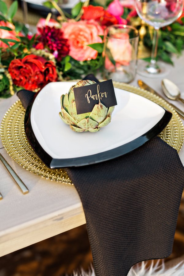 Gold and Black Place Setting, Southern Events Nashville