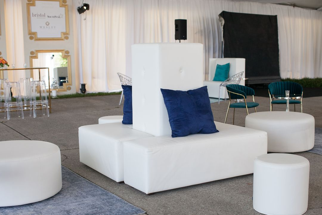 white modular event lounge