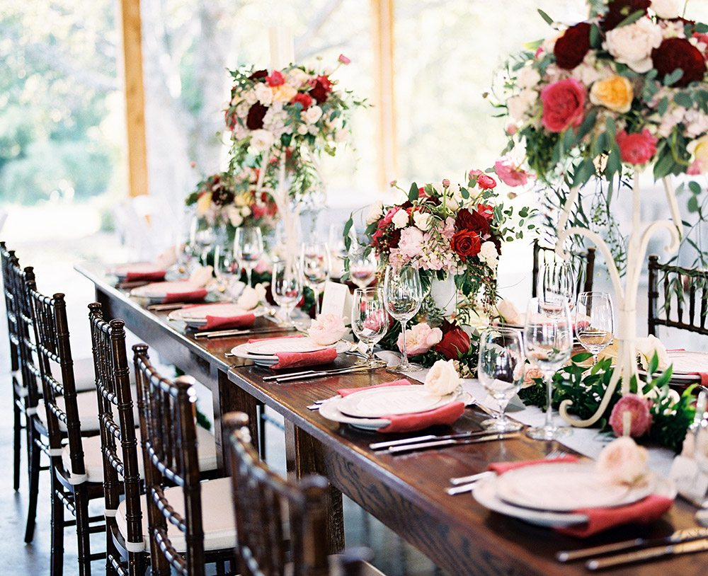 Rustic romance wedding decor archives southern events party rental this wedding showcase at homestead manor was a southern stunner our tablescape took center stage in the event barn with a grey goose runner junglespirit