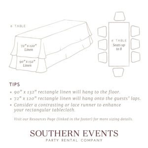 Southern Events Linen Sizing, 6ft Rec