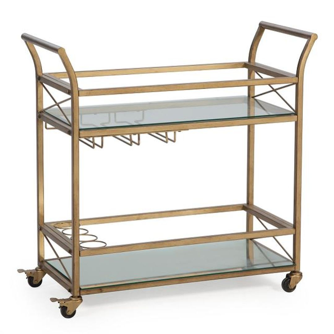 gold rolling bar cart outdoor summer event