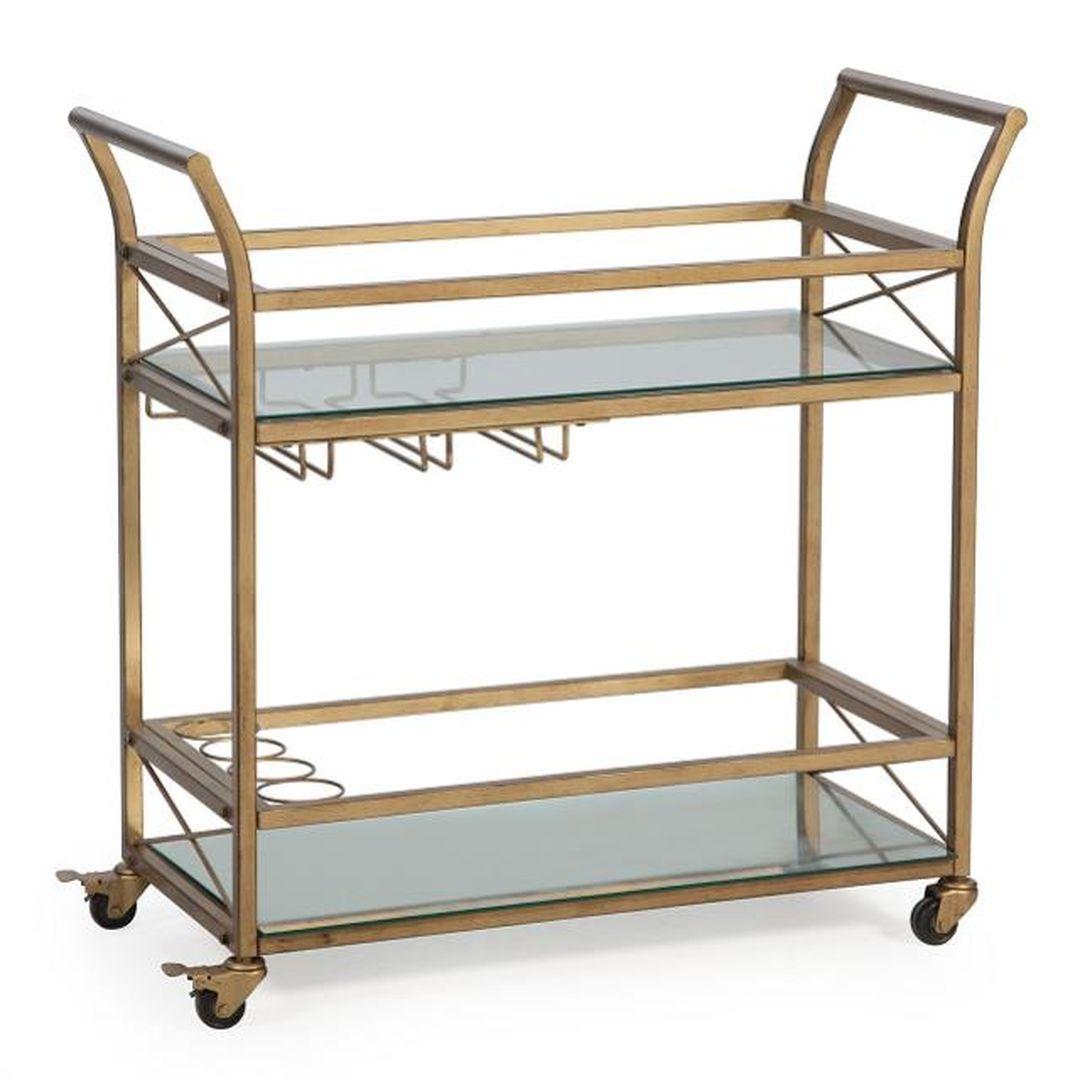 gold rolling bar cart outdoor summer event