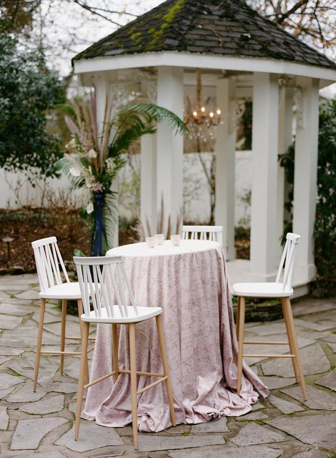 light pink etched velvet bistro table