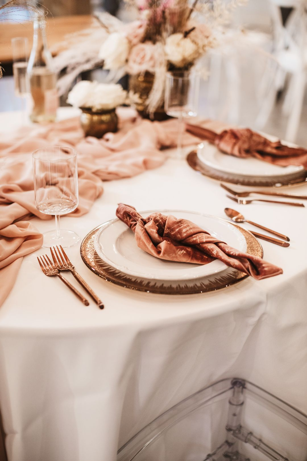 pink wedding palette and serving ware