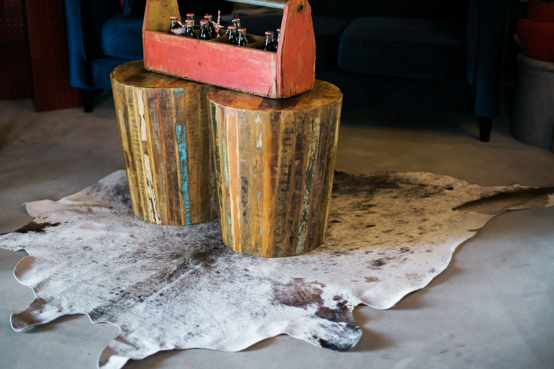urban accent table and cowhide rug