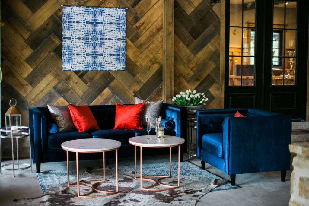 Americana Inspired Event Rentals Saylor Sofa and Chairs