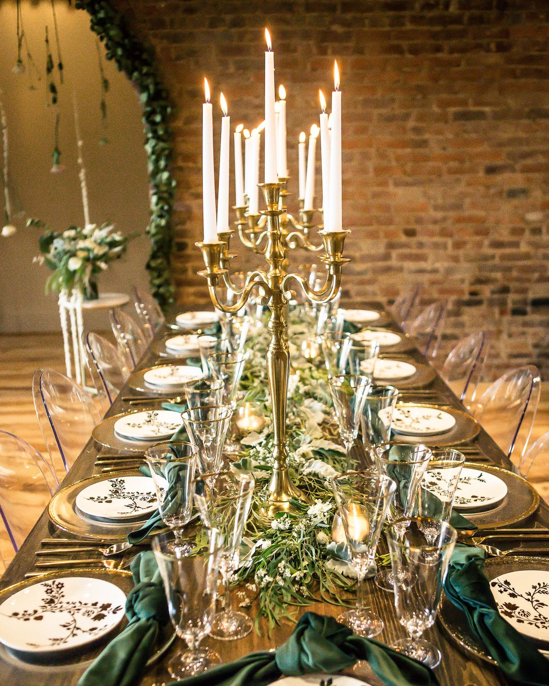 gold and green tables-cape with candelabra