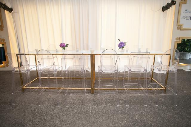 Loren Gold Bistro Table conference tradeshow event rentals