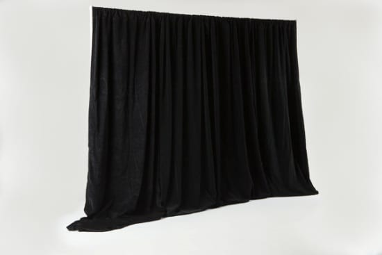 pipe and drape black, conference tradeshow event rentals