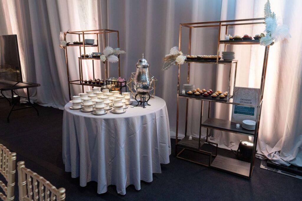 dessert and coffee display