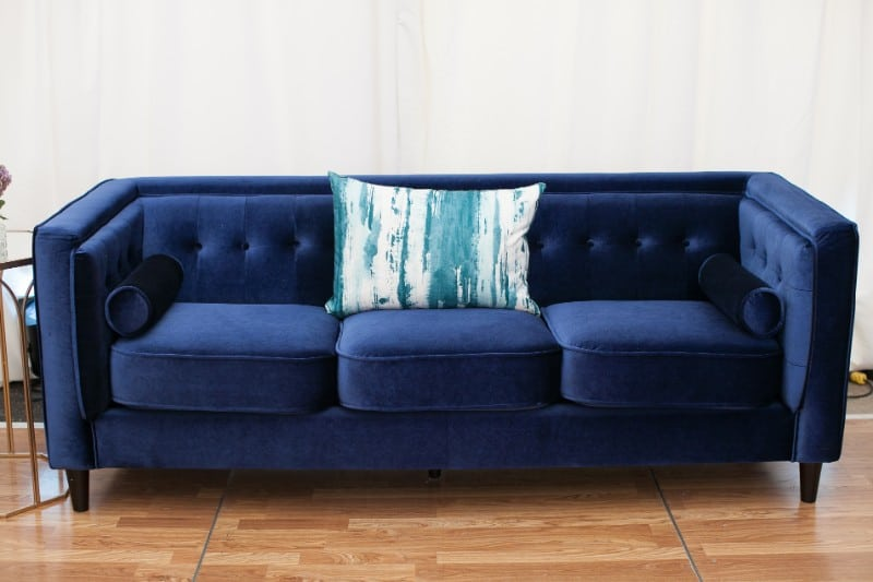 saylor navy velvet sofa conference tradeshow event rentals