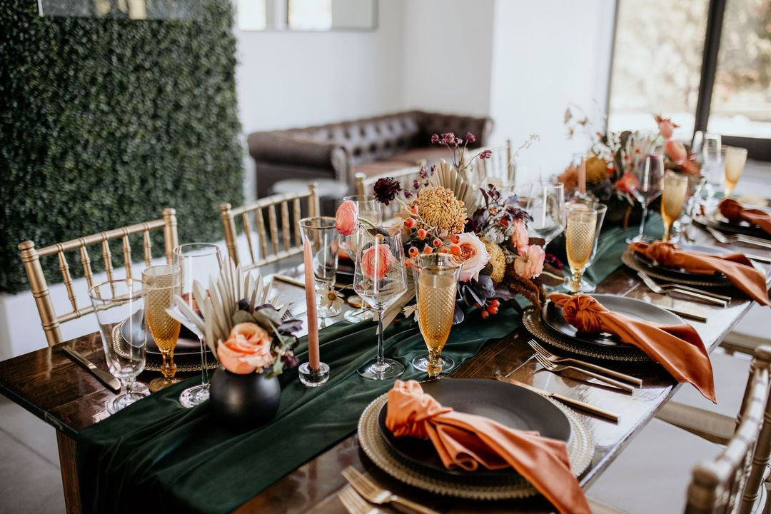 black and rust boho glam tablescape