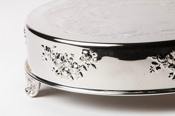 Abby Round Cake Stand Silver, Southern Event Party Rental Company Nashville (1)
