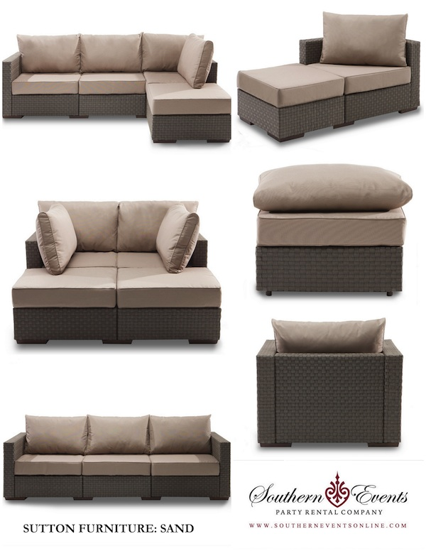 Southern Events Party Rentals, Sutton Furniture in Sand