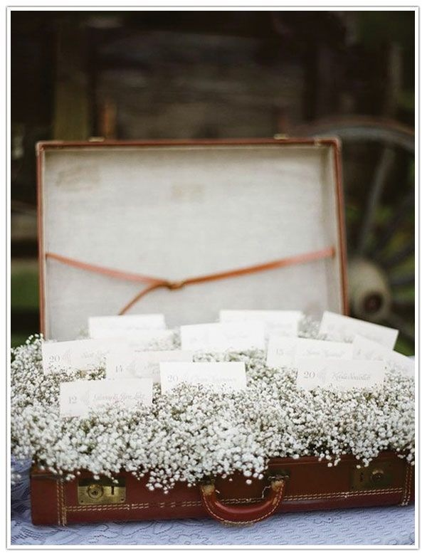 suitcase escort card display via paper+pretties