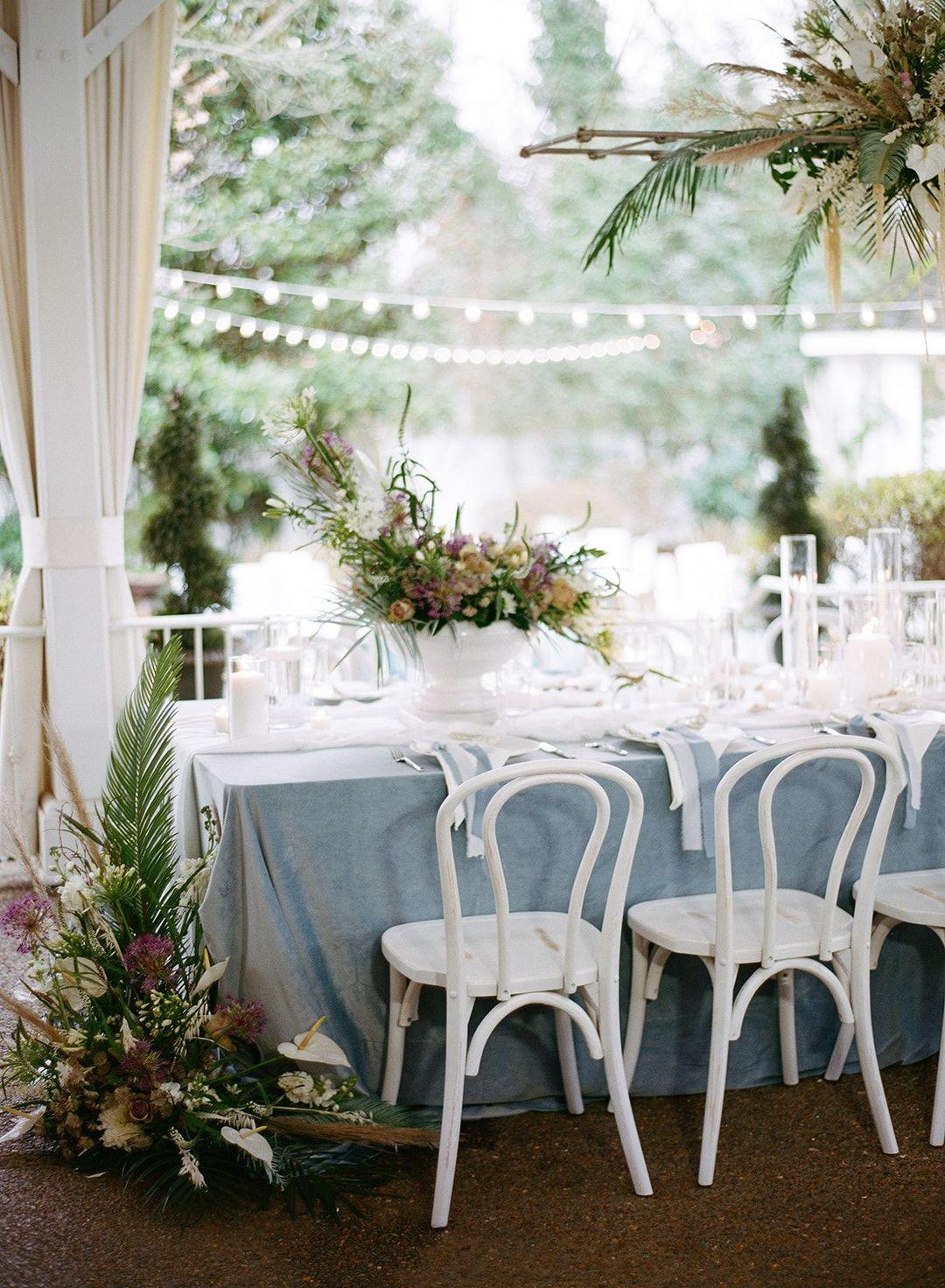 cool blue wedding table