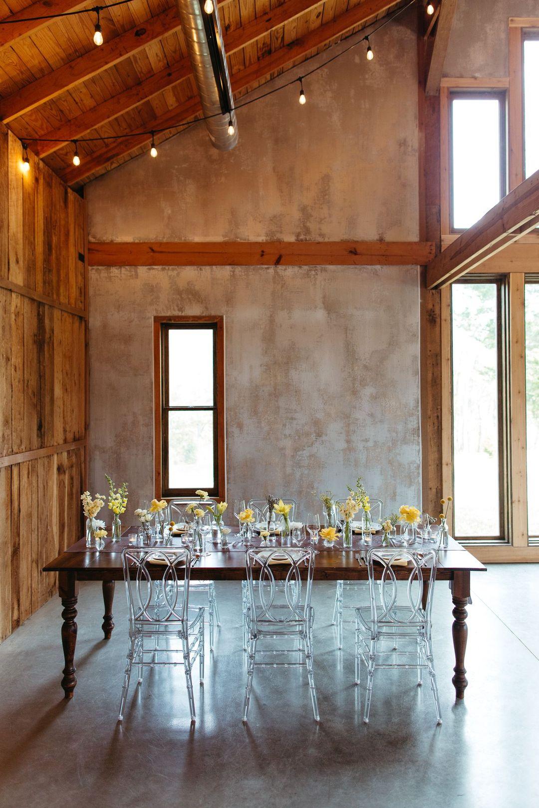 wedding reception table setup at Cedarmont farms