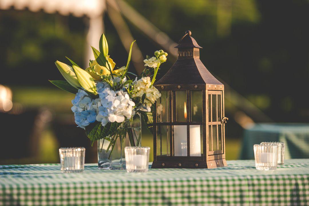 metal tabletop lanter and glass votives
