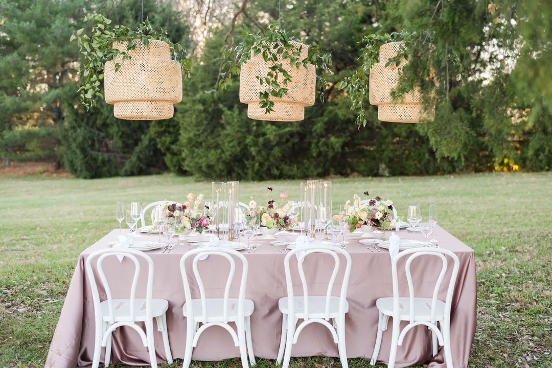 pastel summer tablescape, purple and white summer tablescape,