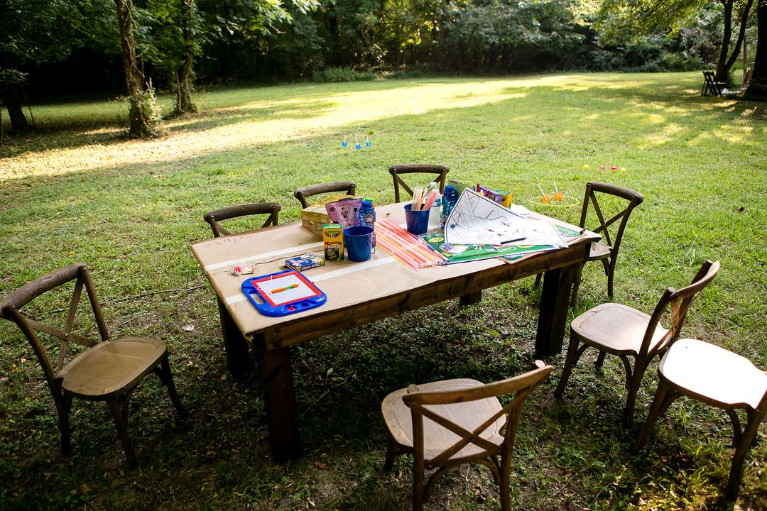 child size furniture rentals, fruitwood farm table