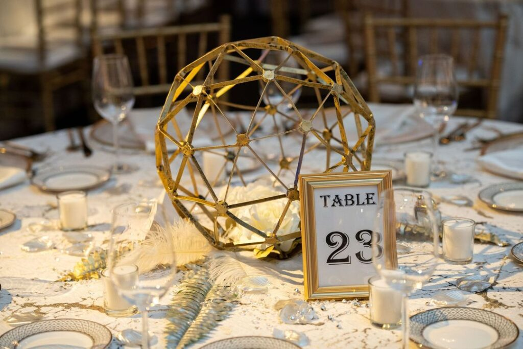 gold geometric centerpieces