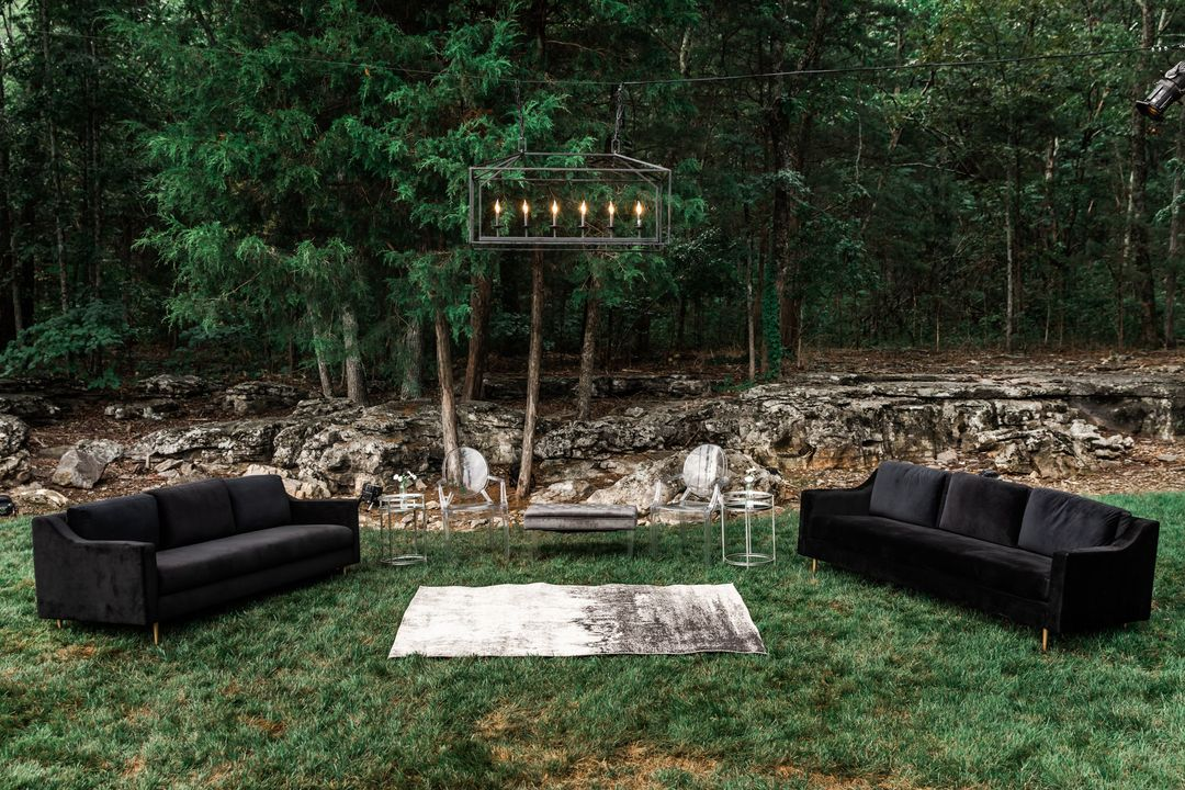 black outdoor wedding lounge