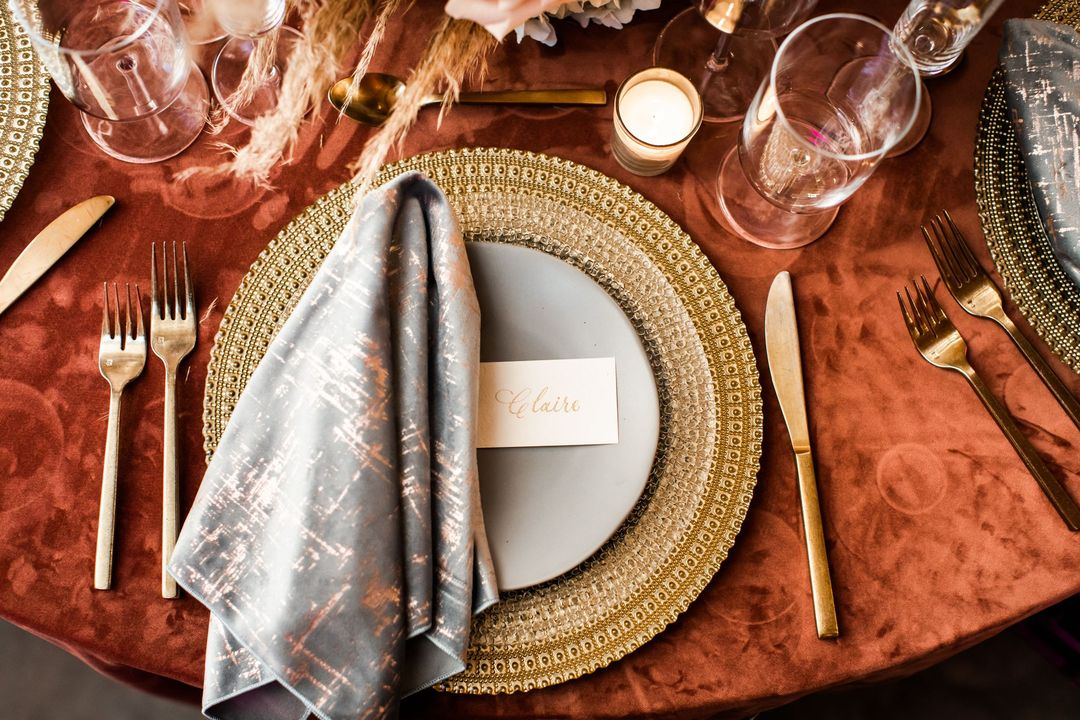 earth tone table event rentals