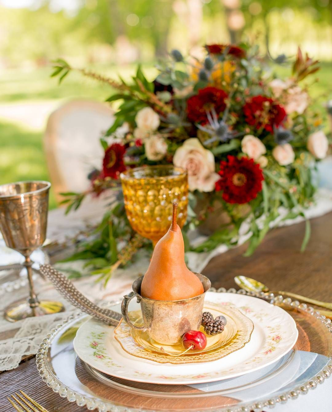 Rosh Hashanah table with pears