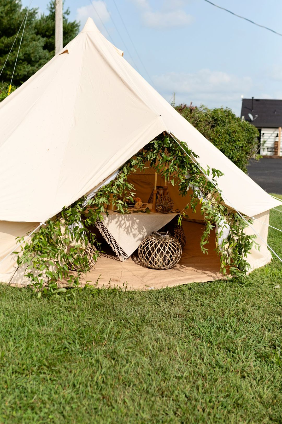boho bell tent outdoors