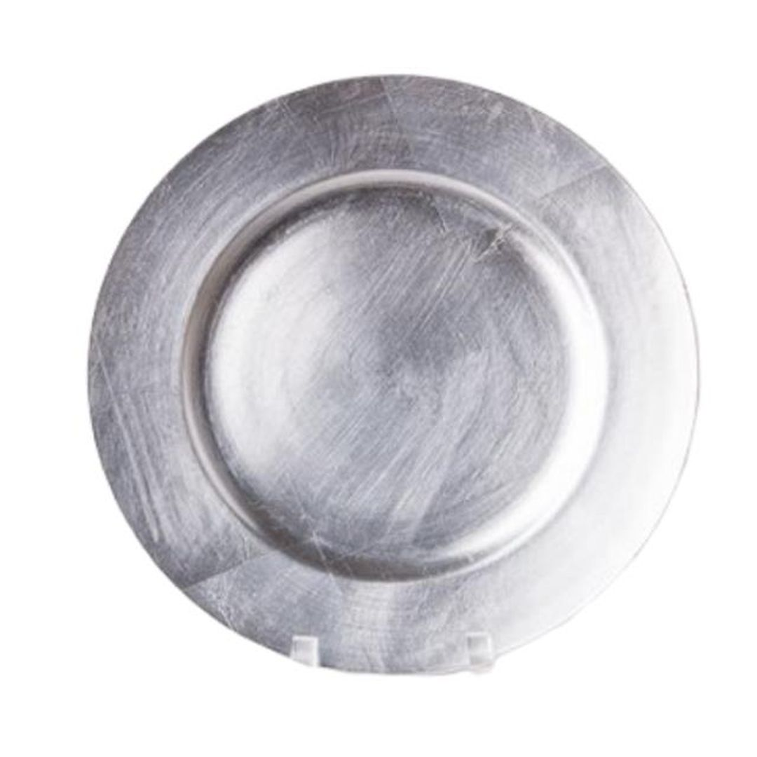 silver round lacquer charger