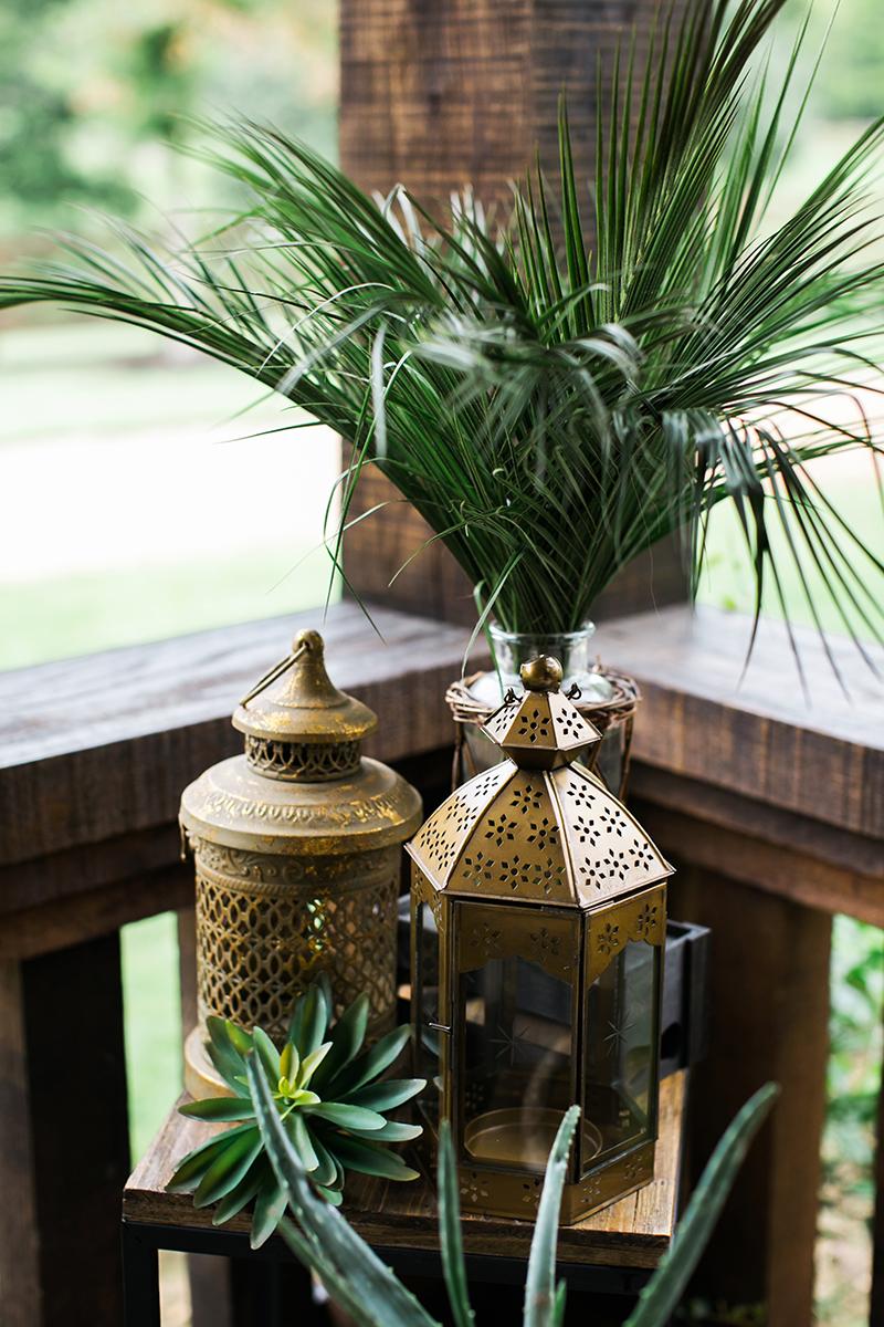 gold boho tabletop lantern decor for rent