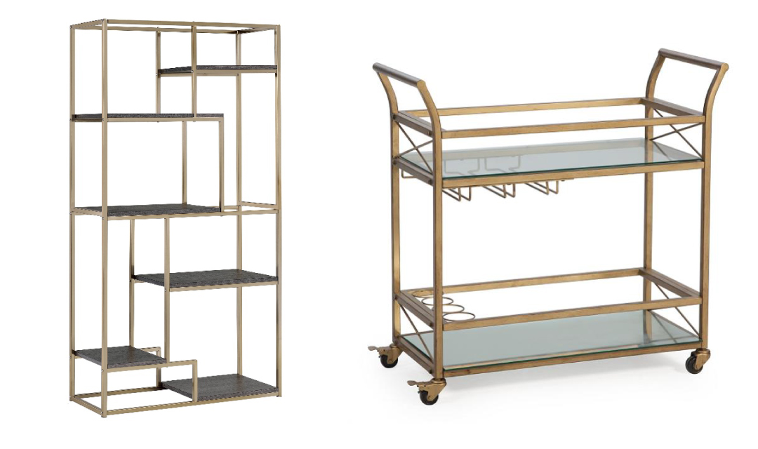 gold bar shelf and gold rolling bar cart for small parties