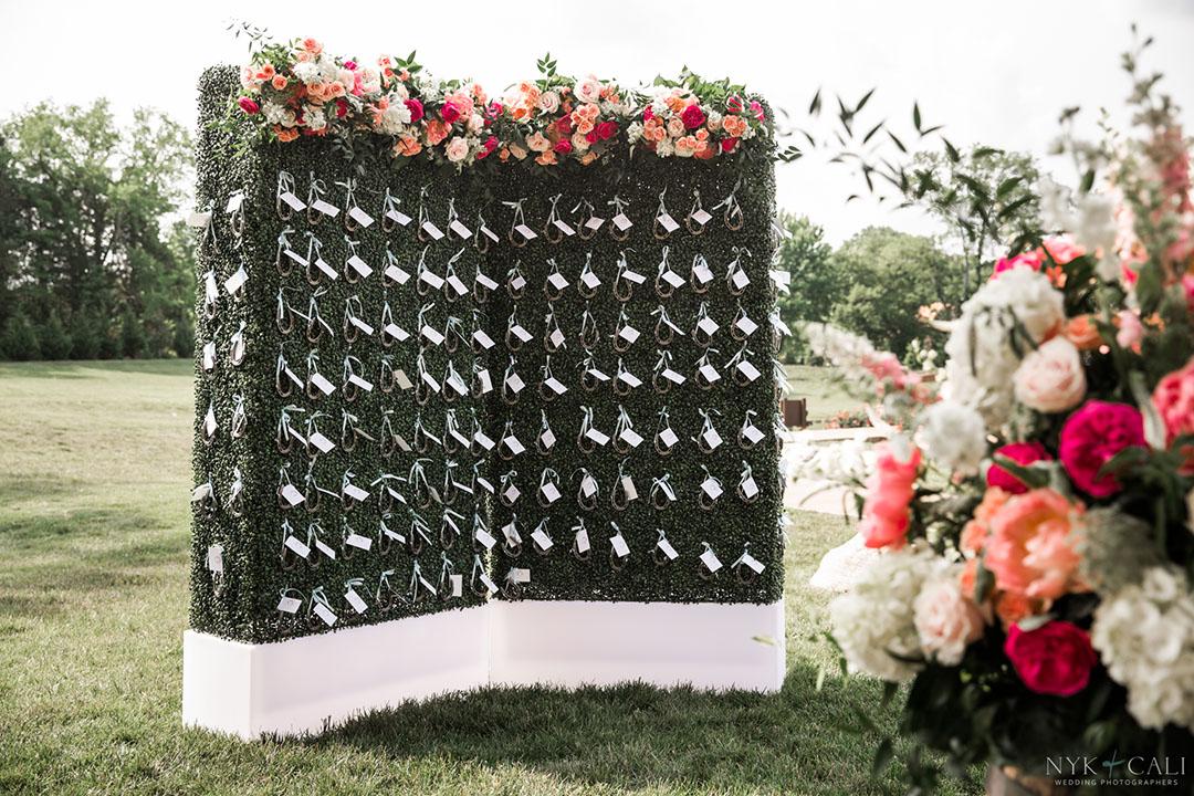 event seating chart boxwood wall display