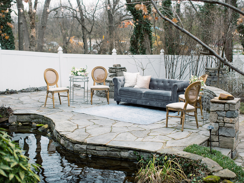 small outdoor lounge area, Sutton sofa