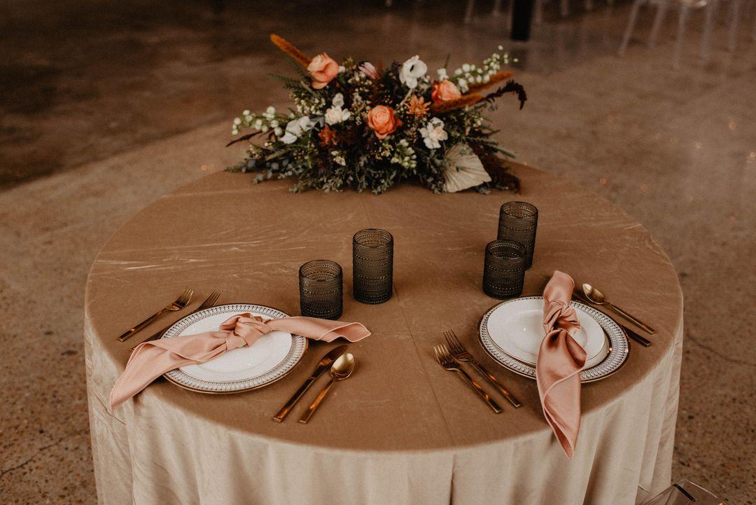 light pink velvet event table