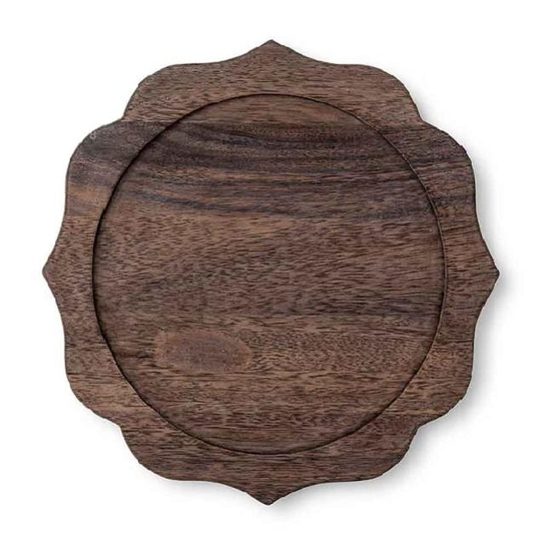 scalloped wood charger for earth toned tablescape